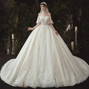 Luxury / Gorgeous Champagne Wedding Dresses 2020 Ball Gown Off-The-Shoulder Beading Sequins Lace Flower Appliques Short Sleeve Backless Royal Train