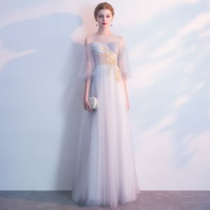 Mode Grau Abendkleider 2018 Empire Applikationen Rundhalsausschnitt Rückenfreies Kurze Ärmel Lange Festliche Kleider