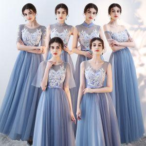 Erschwinglich Himmelblau Durchsichtige Brautjungfernkleider 2018 A Linie Applikationen Spitze Schleife Stoffgürtel Lange Rüschen Rückenfreies Kleider Für Hochzeit