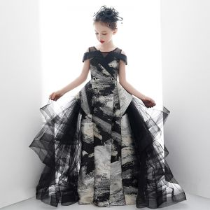 Fancy Black Gold Birthday Wedding Party Dresses 2020 Ball Gown Scoop Neck Short Sleeve Printing Split Front Floor-Length / Long Ruffle