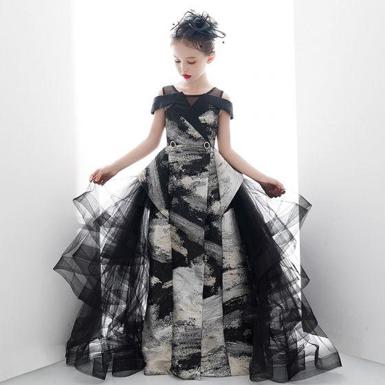 Fancy Black Gold Birthday Wedding Party Dresses 2020 Ball Gown Scoop Neck Short Sleeve Printing Split Front Floor-Length / Long Ruffle