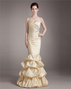 Elegant Sweetheart Floor Length Ruffle Beading Satin Prom Dress