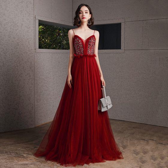Sexy Burgundy Prom Dresses 2020 A-Line / Princess Spaghetti Straps Sleeveless Rhinestone Beading Floor-Length / Long Ruffle Backless Formal Dresses