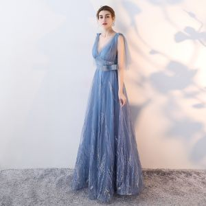 Chic / Beautiful Sky Blue Evening Dresses  2017 A-Line / Princess Bow V-Neck Backless Sleeveless Floor-Length / Long Formal Dresses
