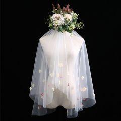 Flower Fairy White Short Wedding Veils Appliques Flower Chiffon Wedding Accessories 2019