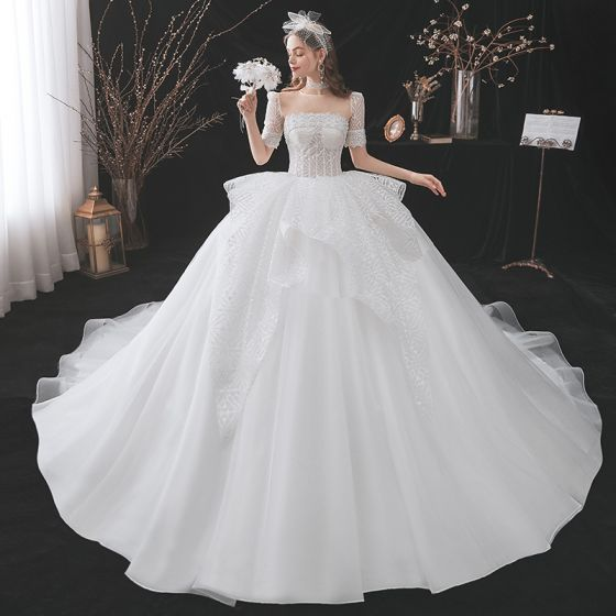 Illusion White Glitter Wedding Dresses 2021 Ball Gown Backless Beading Pearl Scoop Neck Short Sleeve Royal Train Wedding