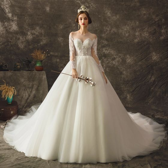 Charming Ivory See-through Wedding Dresses 2019 Ball Gown Scoop Neck Long Sleeve Backless Appliques Lace Beading Pearl Chapel Train Ruffle