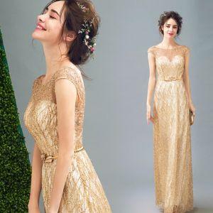 Schöne Gold Abendkleider 2017 A Linie Tülle U-Ausschnitt Applikationen Rückenfreies Glanz Riemchen Abend Festliche Kleider