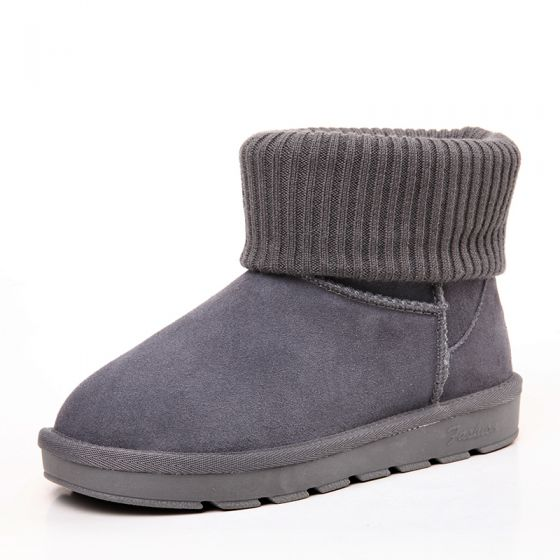 Modest / Simple Womens Boots 2017 Grey Leather Ankle Suede Casual Winter Flat Snow Boots
