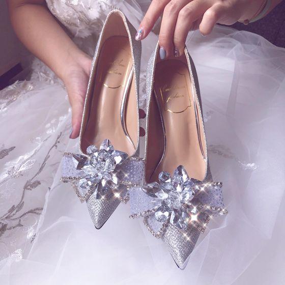 Glitter Zilveren Glans Bruidsschoenen 2020 Leer Rhinestone Pailletten Strik 8 cm Naaldhakken / Stiletto Spitse Neus Huwelijk Pumps