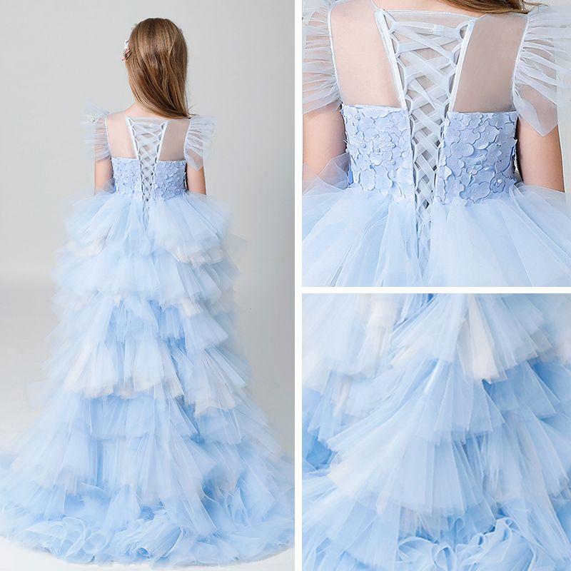 Chic / Beautiful Sky Blue See-through Flower Girl Dresses 2019 A-Line / Princess Scoop Neck Sleeveless Pearl Asymmetrical Cascading Ruffles Wedding Party Dresses