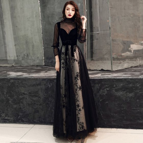 Chic / Beautiful Black Evening Dresses  2019 A-Line / Princess Suede Spotted High Neck Star Bow 3/4 Sleeve Floor-Length / Long Formal Dresses