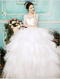 2015 Ball Gown Fantasy Shoulders Long Sleeves Scoop Neck Beading Rhinestone Tulle Wedding Dress