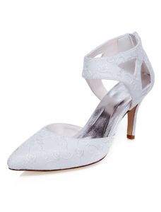 Beautiful Stiletto Heels Bridal Shoes White Embroidered Satin Formal Shoes