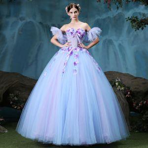 Vintage Quinceañera Lavendel Ballkleider 2018 Ballkleid Applikationen Strass Herz-Ausschnitt Rückenfreies Ärmellos Lange Festliche Kleider