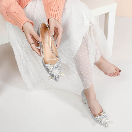 Sparkly Silver Crystal Wedding Shoes 2020 Sequins 7 cm Thick Heels Pointed Toe Wedding Pumps
