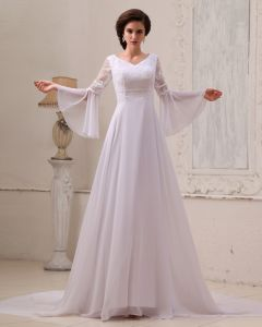 Embroidery Chiffon Beading Cathedral Train Empire Wedding Dresses