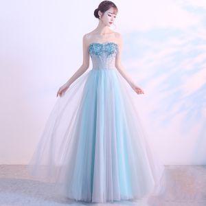 Piękne 2017 Sukienki Wieczorowe Princessa Błękitne Wieczorowe Homecoming Bez Pleców Gorset Kochanie Sukienki Wizytowe