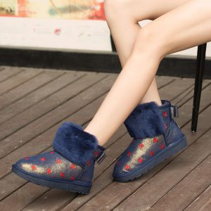 Modern / Fashion Snow Boots 2017 Navy Blue Leather Ankle Patent Leather Embroidered Bow Casual Winter Flat Womens Boots