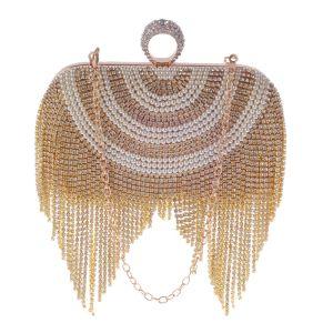 Mode Gold Quadratische Clutch Tasche 2020 Metall Perle Strass Quaste