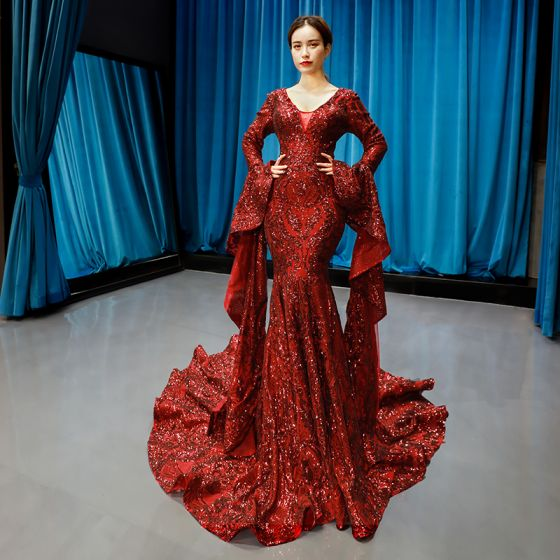 Fashion Burgundy Red Carpet Evening Dresses  2020 Trumpet / Mermaid Deep V-Neck Long Sleeve Bell sleeves Sequins Court Train Ruffle Backless Formal Dresses