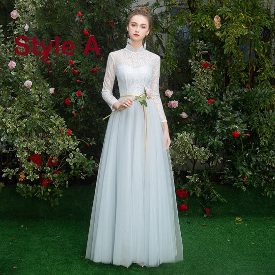 Affordable Sky Blue Bridesmaid Dresses 2019 A-Line / Princess Sash Floor-Length / Long Ruffle Backless Wedding Party Dresses
