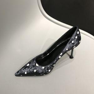 Mode Noire Vêtement de rue Tachetée Escarpins 2020 Cuir Daim 7 cm Talons Aiguilles À Bout Pointu Escarpins