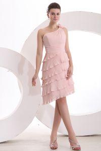 Mode A-ligne D'une Épaule Robe De Cocktail À Volants Rose