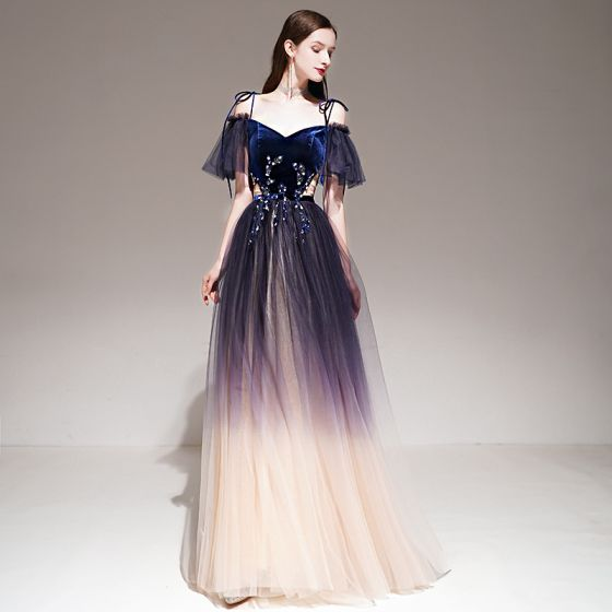 Fashion Purple Gradient-Color Evening Dresses  2020 A-Line / Princess Spaghetti Straps Short Sleeve Appliques Lace Beading Sash Glitter Tulle Floor-Length / Long Ruffle Backless Formal Dresses