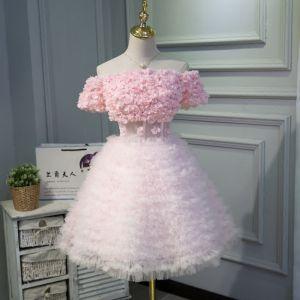 Schön Pink Partykleider 2018 A Linie Applikationen Off Shoulder Rückenfreies Kurze Ärmel Kurze Festliche Kleider
