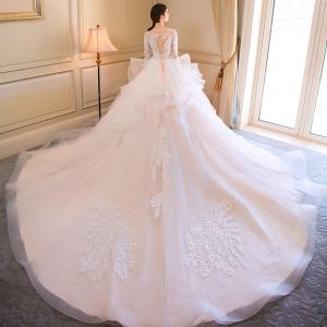 Elegant Champagne Wedding Dresses 2018 Ball Gown Appliques Cascading Ruffles Scoop Neck 1/2 Sleeves Backless Cathedral Train Wedding