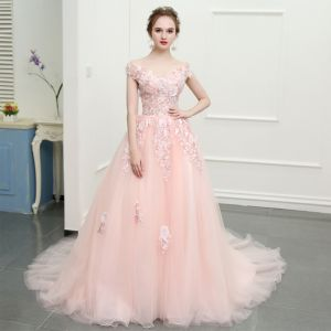 Flower Fairy Blushing Pink Chapel Train Evening Dresses  2018 A-Line / Princess Tulle Appliques Backless Strapless Evening Party Prom Dresses
