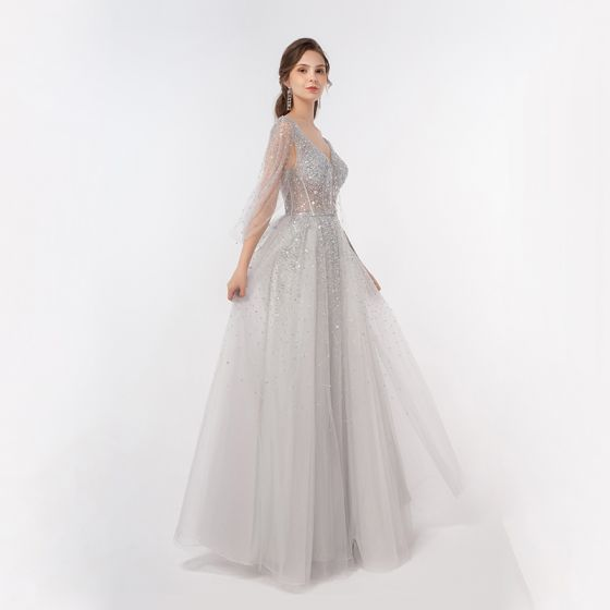 Illusion Luxury / Gorgeous Silver Dancing Prom Dresses 2020 A-Line / Princess Deep V-Neck Beading Sequins Floor-Length / Long Ruffle Backless Formal Dresses