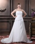 A-Line Strapless Sweep Bead Chiffon Satin Plus Size Wedding Dress