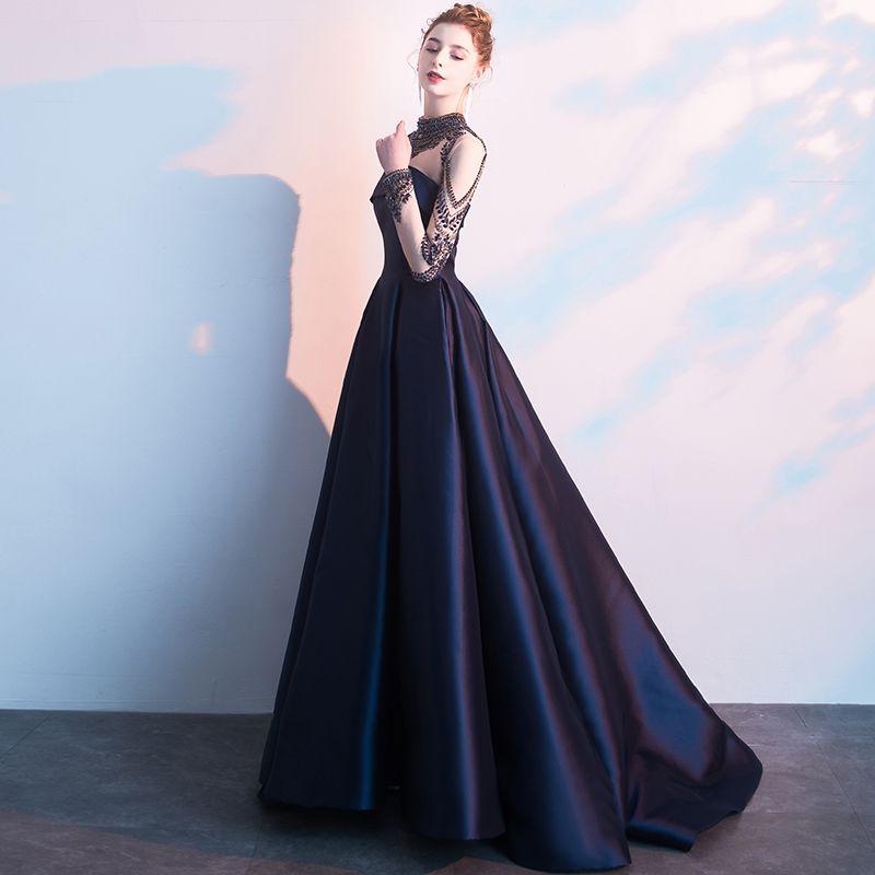 Vintage / Originale Bleu Marine Robe De Soirée 2019 Princesse Col Haut Perlage Cristal Manches Longues Longue Robe De Ceremonie