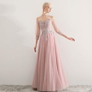 Elegant Blushing Pink Prom Dresses 2019 A-Line / Princess Spaghetti Straps Appliques Lace Flower Beading 3/4 Sleeve Backless Floor-Length / Long Formal Dresses