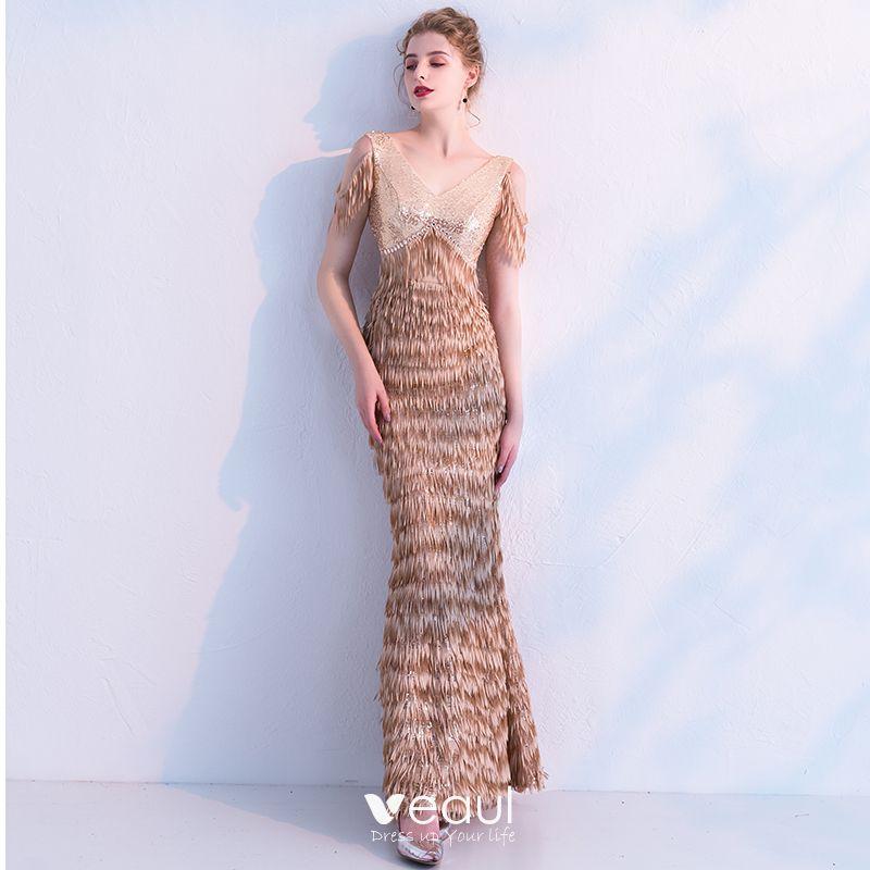 Elegantes Champán Lentejuelas Vestidos De Noche 2019 Trumpet Mermaid V Cuello Sin Mangas Tassel Poliéster Largos Ruffle Sin Espalda Vestidos
