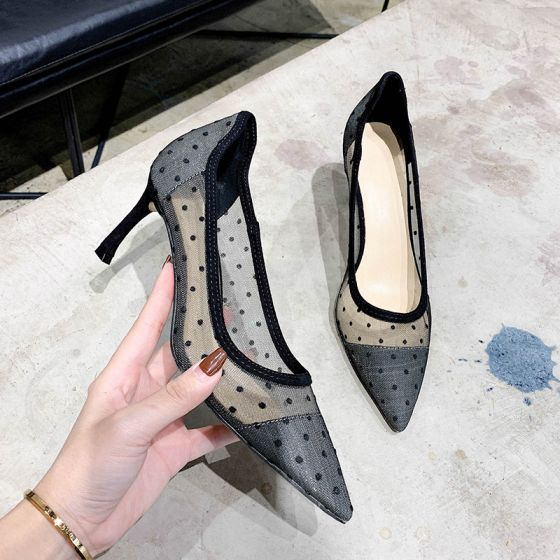 Chic / Beautiful Black Dancing Spotted Pumps 2020 7 cm Stiletto Heels Pointed Toe Pumps