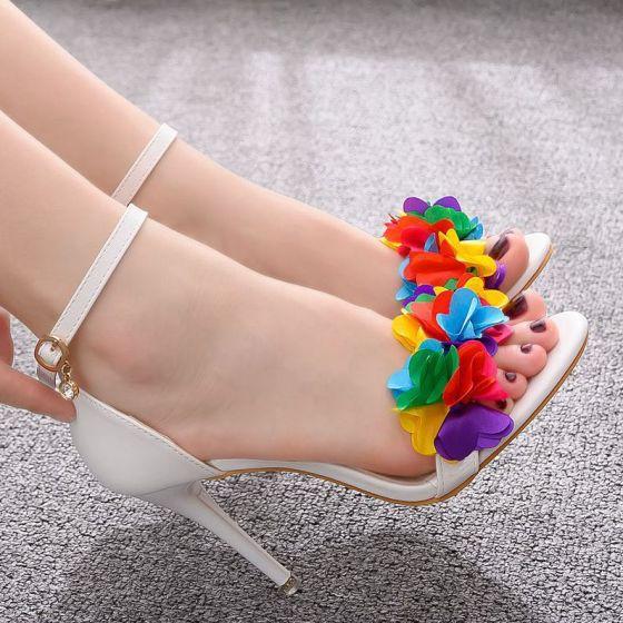 Mooie / Prachtige Witte Gala Sandalen Dames 2020 Appliques Enkelband 9 cm Naaldhakken / Stiletto Peep Toe Sandalen