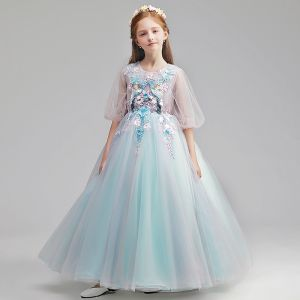 Flower Fairy Sky Blue Flower Girl Dresses 2019 A-Line / Princess Scoop Neck Puffy 3/4 Sleeve Appliques Lace Pearl Floor-Length / Long Ruffle Wedding Party Dresses