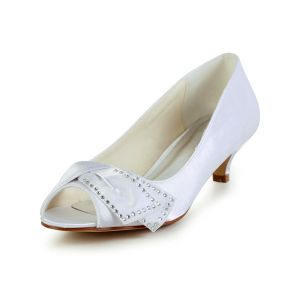 Chic Peep Toe Inlaid Rhinestone White Satin Kitten Heels Wedding Shoes