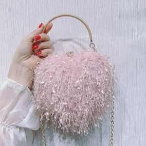 Schön Rosa Herzförmig Clutch Tasche 2020 Metall Perlenstickerei Quaste