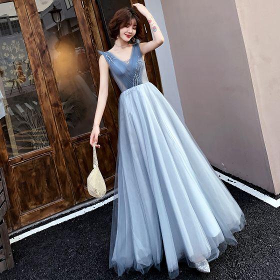 Eleganta Blå Aftonklänningar 2019 Prinsessa V-Hals Beading Kristall Ärmlös Halterneck Långa Formella Klänningar