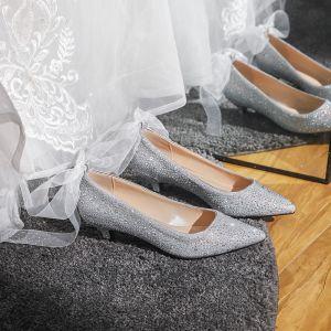 Mode Zilveren Bruidsschoenen 2020 Strik Rhinestone 3 cm Naaldhakken / Stiletto Lage Hak Spitse Neus Huwelijk Pumps