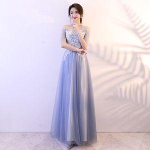 Abordable Bleu Ciel Robe De Bal 2018 Princesse En Dentelle Paillettes De l'épaule Dos Nu Manches Courtes Longue Robe De Ceremonie