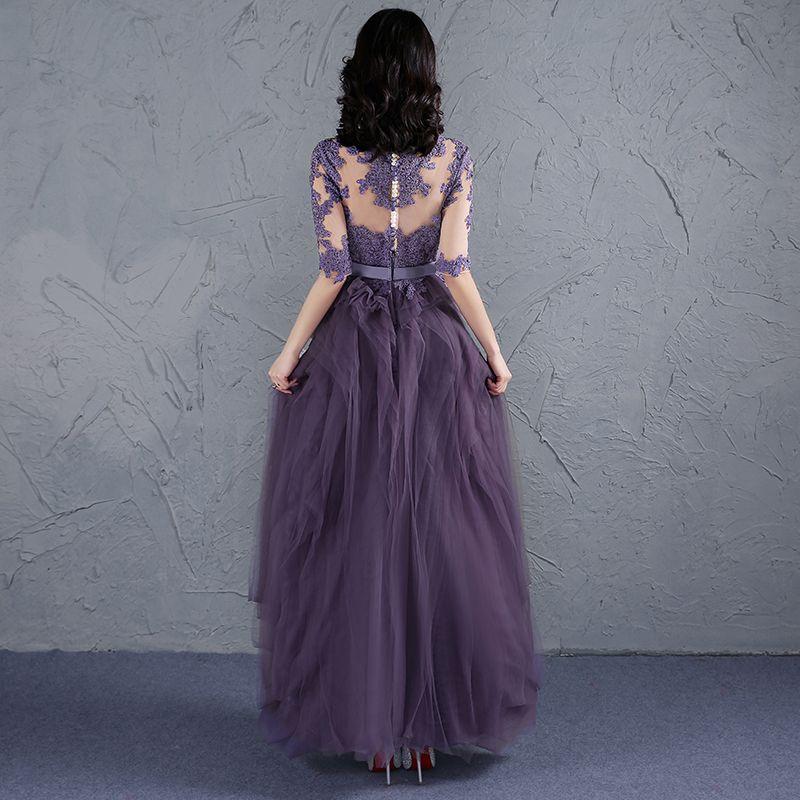 Elegant Grape Prom Dresses 2017 Scoop Neck 1/2 Sleeves Appliques Lace Sash Ruffle Tulle Floor-Length / Long Formal Dresses