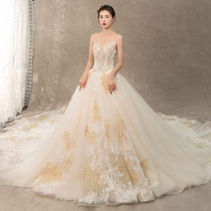 Charming Champagne Wedding Dresses 2019 A-Line / Princess Spaghetti Straps Beading Pearl Lace Flower Sleeveless Backless Royal Train