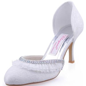 The New Round Of White High-heeled Lace Bridal Shoes Rhinestone Party Shoes Shoes Sweet Side