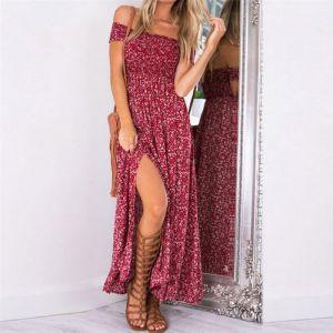 Bohemia Red Maxi Dresses Chiffon Cotton Casual Printing Women's Clothing 2018