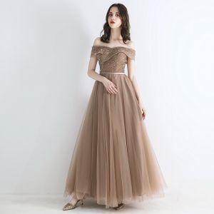 Eleganckie Szampan Sukienki Wieczorowe 2019 Princessa Przy Ramieniu Kótkie Rękawy Aplikacje Z Koronki Cekiny Frezowanie Szarfa Długie Wzburzyć Bez Pleców Sukienki Wizytowe